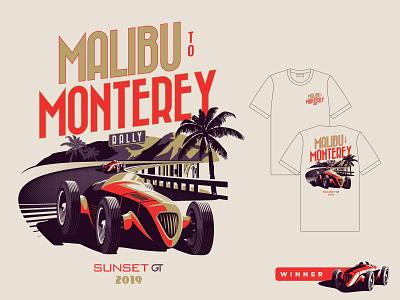 Malibu To Monterey 01 vintage branding car rally illustration cars