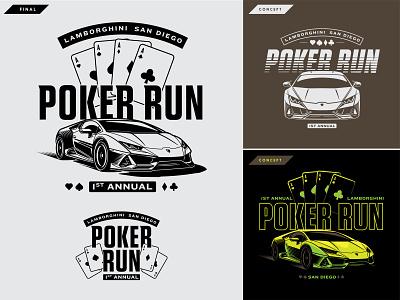 Poker Run 01 illustration exotic cars lamborghini rally poker