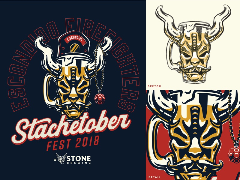 Stachetober 2018 Reject 01 firefighter sketch tee illustration stone beer
