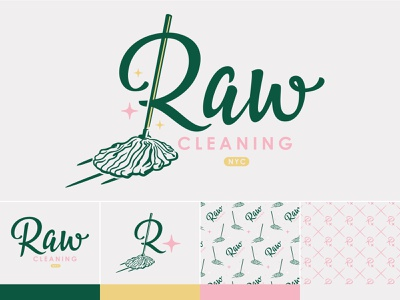 Raw Cleaning NYC 01 script logotype logo nycbrandingagency illustration cleaning nyc