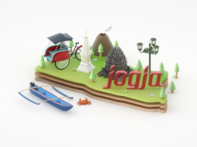 Hi Dribbble! design tugu city yogyakarta jogja render lowpoly illustration cinema4d c4d 3d