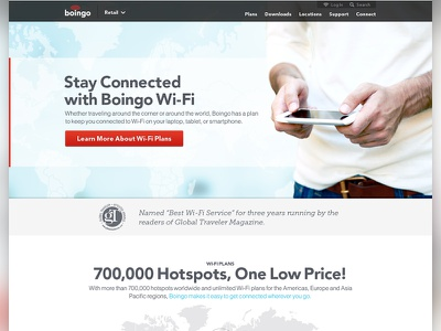 Boingo Wireless - Retail Web Page web design branding