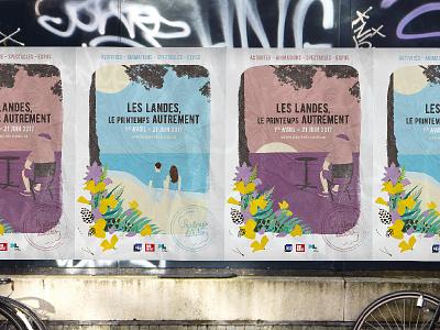 LE PRINTEMPS DES LANDES - Illustrations flowers spring landscape landes france nature illustration design