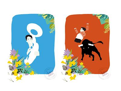 PRINTEMPS DES LANDES - Illustrations landes france flowers nature bullfighting bull music banda illustration graphism design