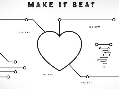 Make it Beat lover lovely bpm science love hearts heart logo heartbeat artwork vector logo creative  design illustration design creative