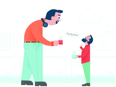 Hey Big fellow!! illustrations coffeetime colleague colleaguelife colleaguefriendsatwork illustraor vector visrijami illustration art illustration