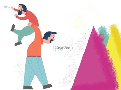 Happy holi funny colleagues friends colleague fun vector colleague visrijami illustration