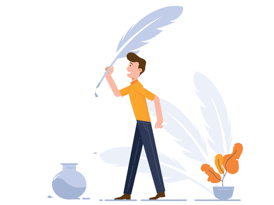Write your own story writer feather ink writing man illustraor design vector art illustration visrijami drawing