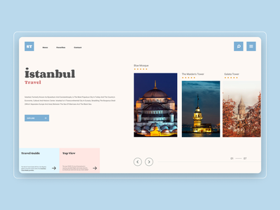 ST World Travel Guide Home Page istanbul guide uiux ux ui dribbble figma homepage site web website travel world