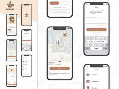 Coffee Drop App aplication mobile design maps shots dribbble like ux ui mobile app coffee