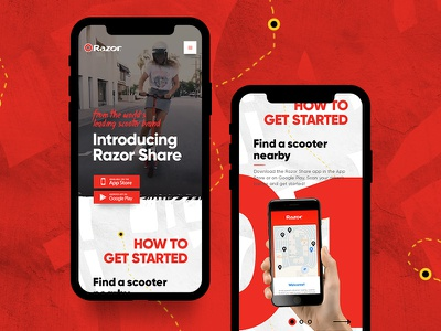 Razor Share innovative illustration hand drawn modern community riding scooter app share razor