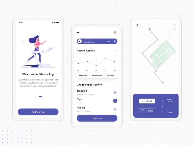 Fitness App - UI Design run activity wellness fitness app istiakui ios apple illustration app mobile app design freebie free ux ui minimal