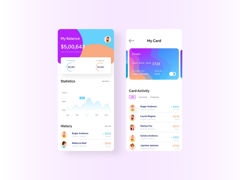 Wallet App UI product minimal currency blockchain finance app istiakui ux wallet app mobile app inspiration banking app wallet transactions stats payment mastercard finance chart ui app