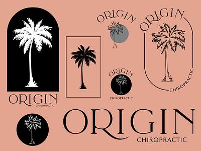 Origin Chiropractic Concepts illustration typography vector logo chiropractic palm tree brand identity concepts icon logodesign brand design branding flat design