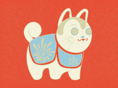 Inu Hariko dog illustration dog art graphic design flat illustration flat paper maché toy toy illustration japanese folk toys japanese illustration dog inu hariko