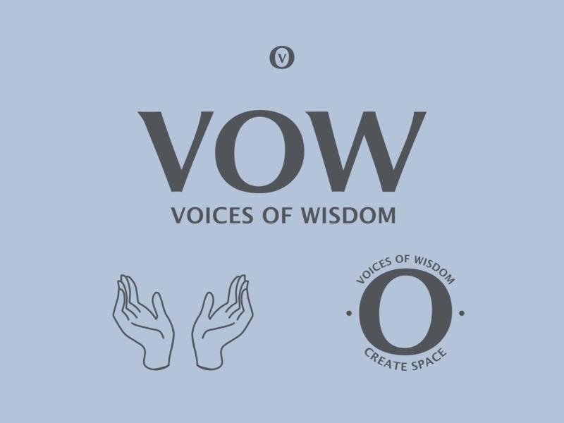 VOW | Voices of Wisdom logos type logo type design typedesign logotype logo brand identity brand design brand branding type icon flat draw procreate designer line work design art illustration