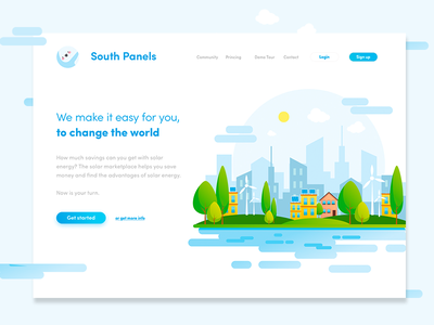03. Landing Page flat minimal clean blue web website app vector ux icon typography ui logo design illustration