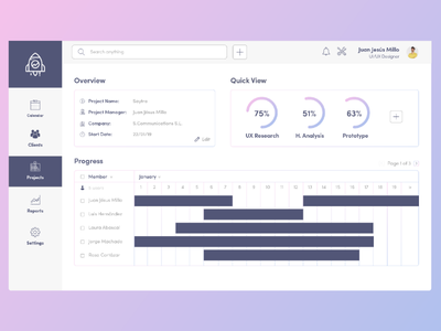 13. Minimal Project Management Dashboard Exploration simple minimal timeline pink purple clean project management dashboard ux ui