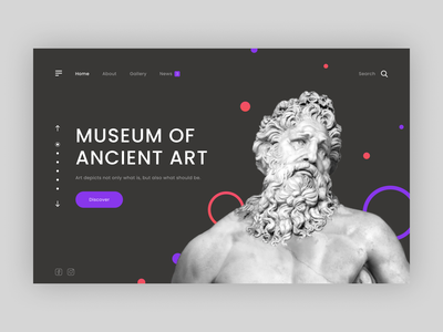 Museum of Ancient art branding museum of art art museum statue ancient greek promo web website typography minimal design ui