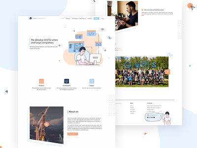 Gems Dev - company site flat web illustration vector branding website typography minimal design ui
