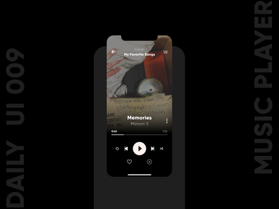 Music Player mobile ui icon ux app design music player daily ui