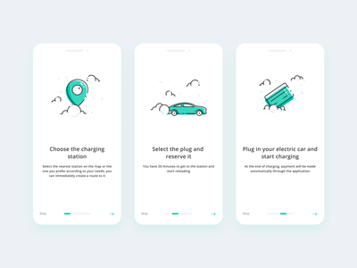 Onboarding for uCharge app vector flat car mobile app ux ui icon minimal illustration