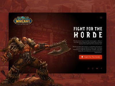 World of Warcraft Classic - promo concept videogame online games games orcs webdesign minimal web horde wow world of warcraft warcraft design ui website