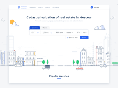 Cadastral Valuation - main page mainpage web flat search ux logo illustration minimal design ui website