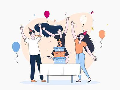 Illustration - 3 years from the Birthday holiday cake happy holidays birhday vector minimal illustration
