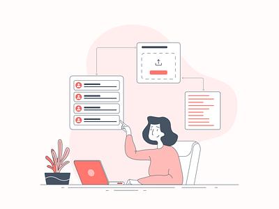 Illustration - User plant interface girl woman laptop user vector minimal illustration