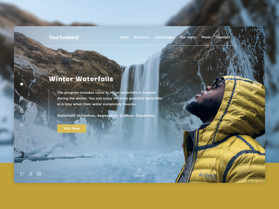 Your Iceland typography branding promo tourism yellow waterfall winter norway iceland design website ui web