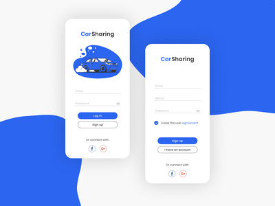 Sign Up for the Car Sharing app mobile flat app car vector minimal illustrator design daily ui daily ui
