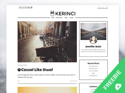 Kerinci Free WordPress Theme template theme wordpress typography blog web wordpress theme freebies