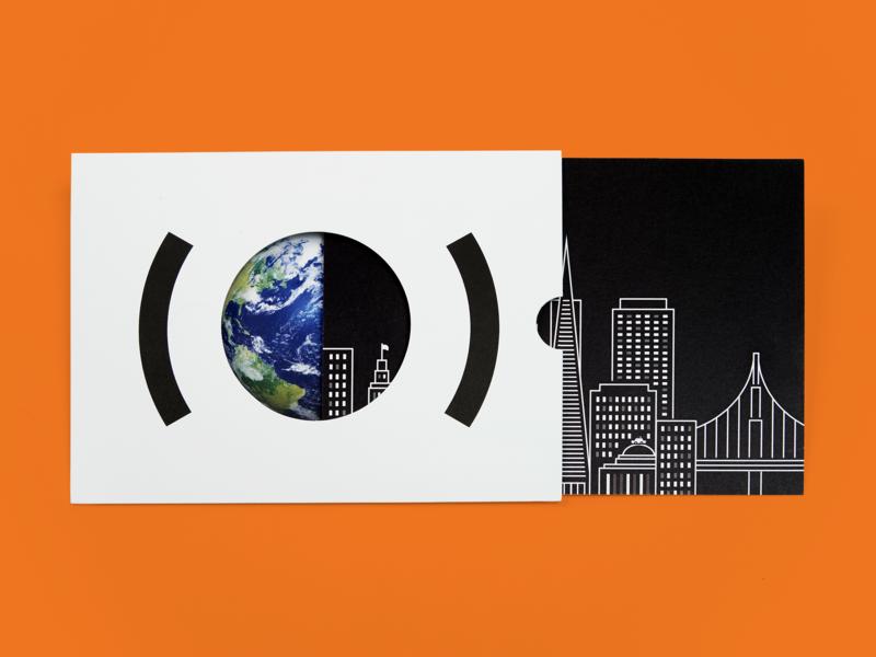 San Francisco Event Program development fundraising print roadshow campaign education branding minimal illustration skyline better world diecut design program event