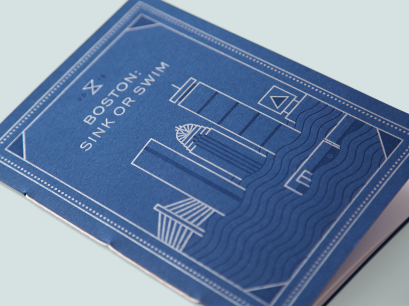 Invitation for Boston: Sink or Swim Event thread binding letterpress skyline minimal design art direction branding illustration print climate change