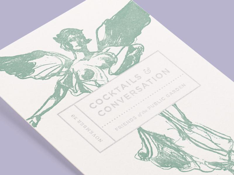 Cocktails & Conversation Invitation angel fountain illustration cocktails boston statue garden letterpress invitation