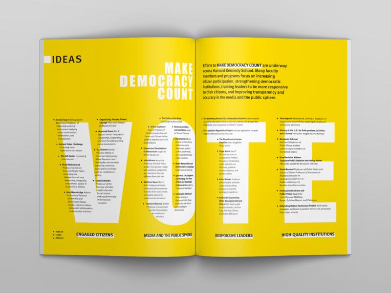 HKS Magazine Spread, Make Democracy Count Ideation public policy magazine education vibrant typeset typography country make ideas democracy ideation editorial