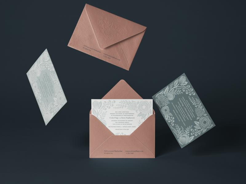 Rifle Paper Co. Unused Invitation Illustration lace wedding florals letterpress print invitation