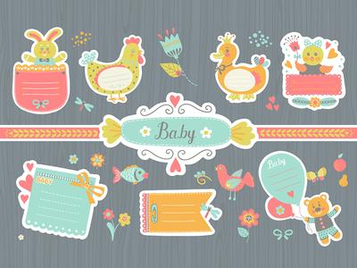 Stickers for baby photo album