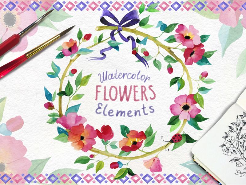 Watercolor Flowers romantic blossom artwork card brash season illustration hand made summer congratulation watercolor