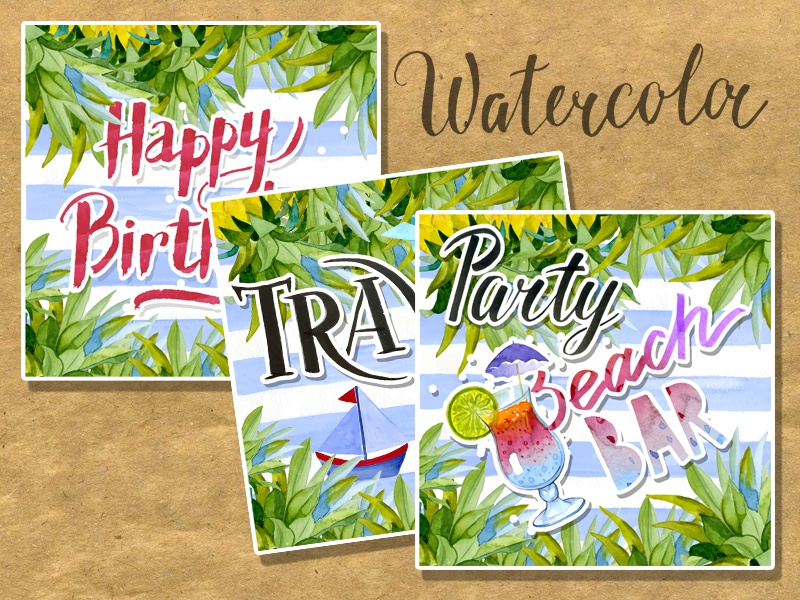 Set vintage watercolor cards romantic artwork card illustration hand made summer congratulation watercolor flower beach bar party travel