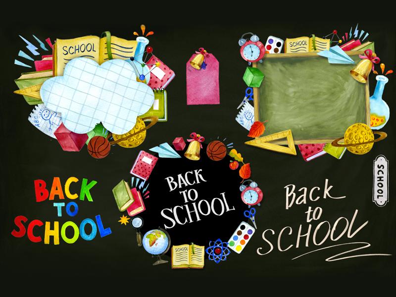 Back to School Watercolor board calculator pen pencil notebook univercity sport education student back to school school