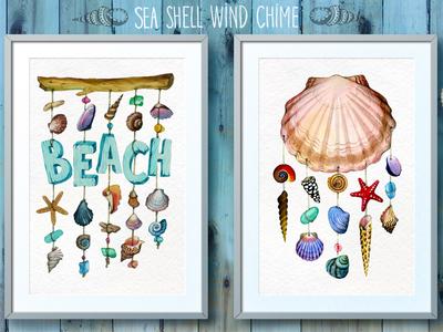 Watercolor sea shell