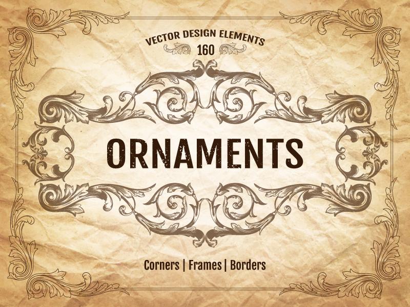 Vintage Ornaments antique baroque certificate greeting cards damask ornament decorative border card element frame vintage