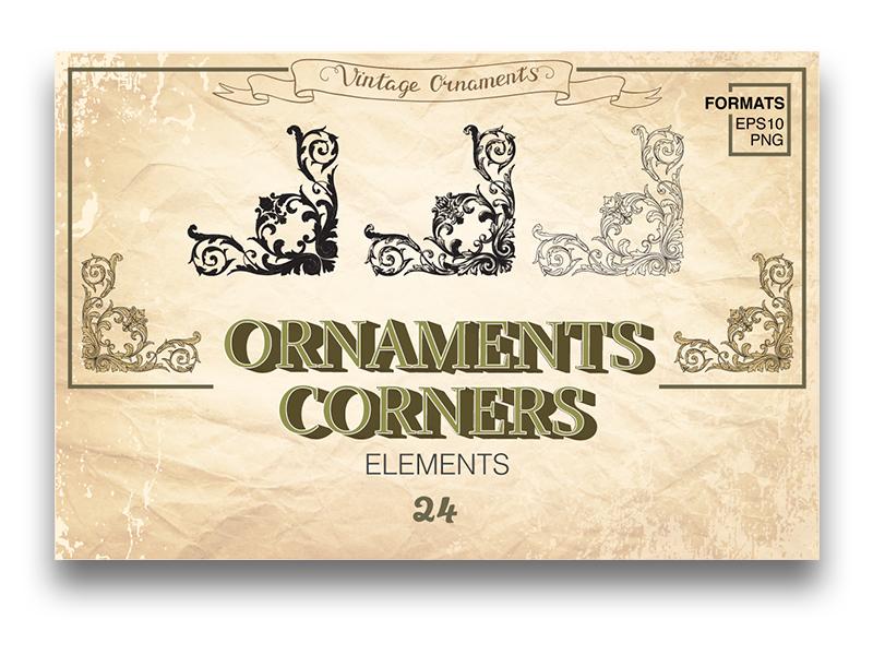 Ornaments corners  certificate renaissance damask frame damask ornament banner decorative card element ornate frame vintage