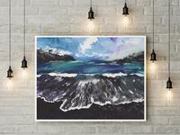 Sea in watercolor technique