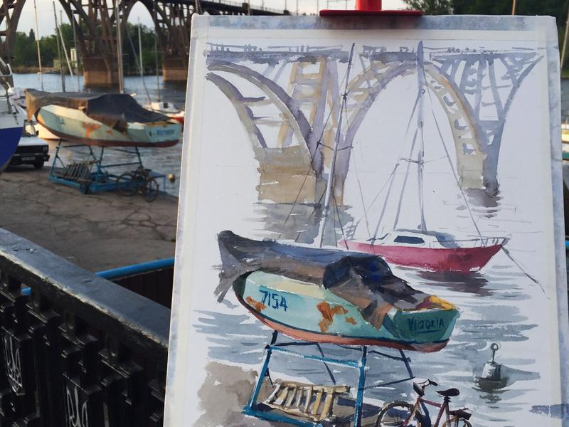 Plein air watercolor Yacht Club  sketch yacht club rustic watercolor plein air