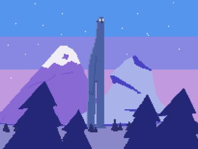 The Midnight Giant fan art pixel 16bit pixel art illustration
