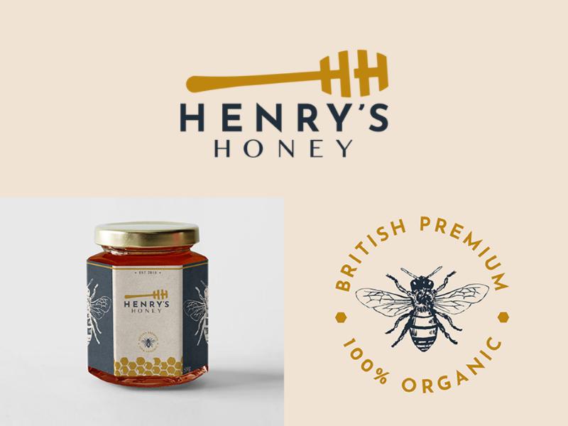 Henry's Honey Logo & Branding honey packaging branding logo
