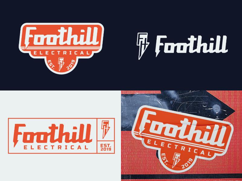Foothill Electrical ⚠️ Logo & Badge Design bolt electric electrical badge branding logotype type logo